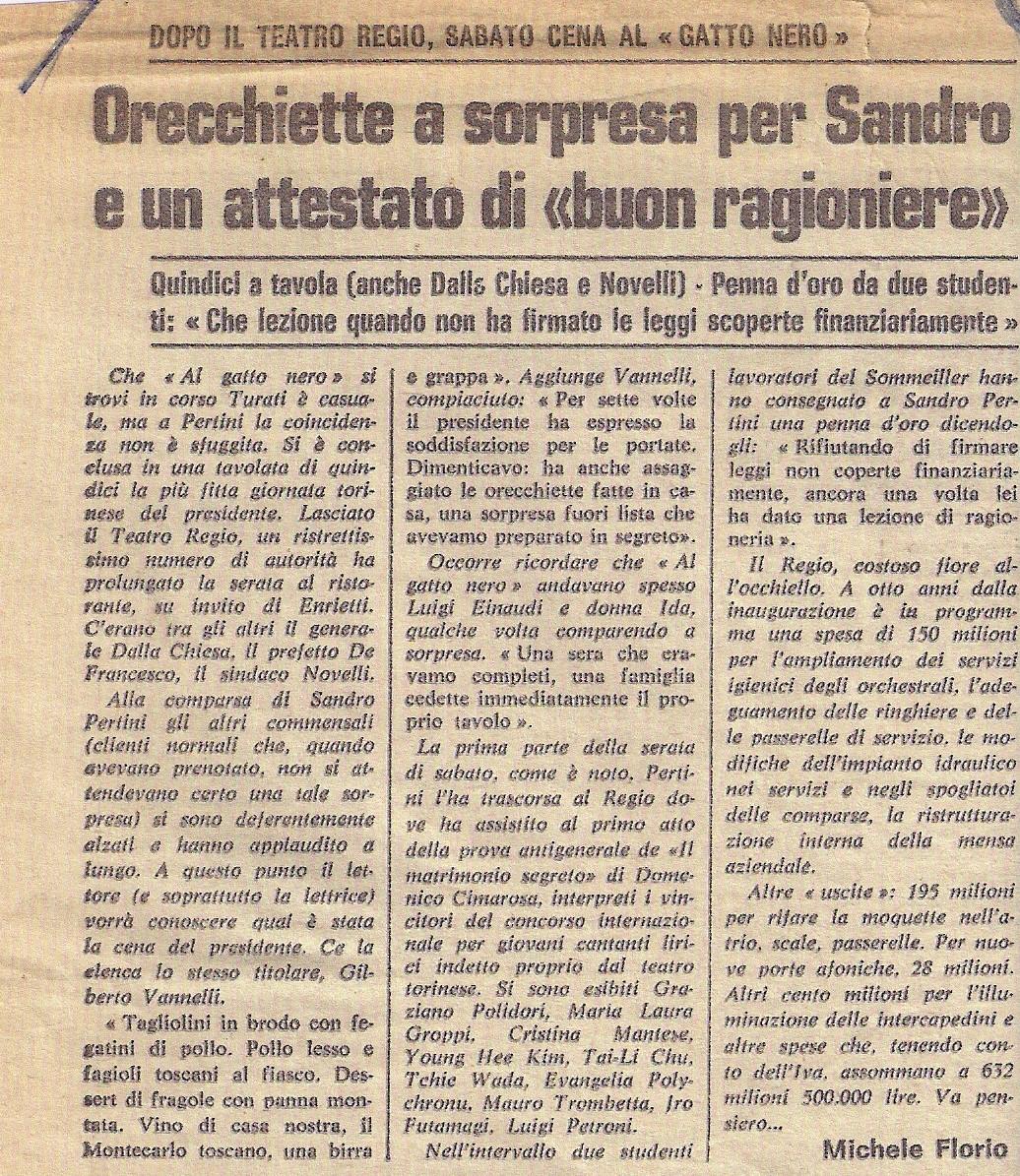 Sandro Pertini Al Gatto Nero - 14 03 1981